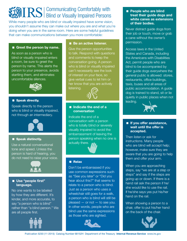 IRS infographic on how to communicate with the blind and visually impaired.